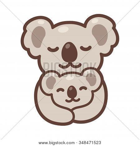 Cute Cartoon Koala Mom Hugging Baby Cub, Sweet Koalas Family Drawing. Simple Vector Clip Art Illustr