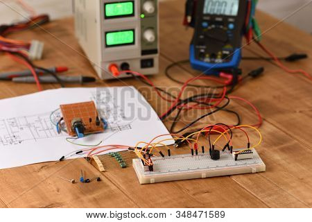 Electrical Circuit Assembled On Breadboard, Electronic Board.