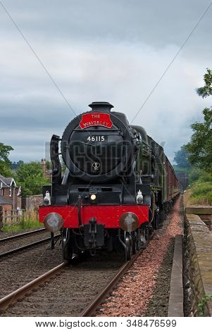 Lazonby, England - July 22:  Preserved Steam Locomotive 46115, Scots Guardsman, Heads The Waverley I