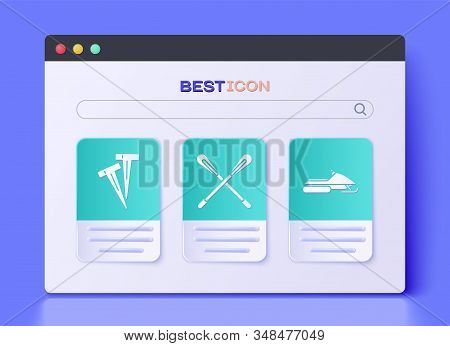 Set Crossed Paddle, Pegs For Tents And Snowmobile Icon. Vector