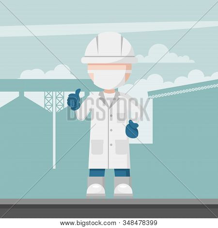 Food Engineering Supervisor Design On A Background Industrial Plant
