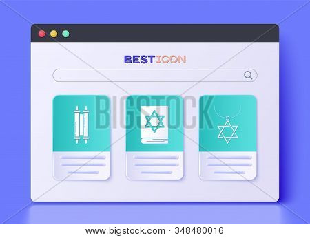 Set Jewish Torah Book, Torah Scroll And Star Of David Necklace On Chain Icon. Vector