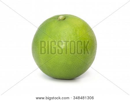 Isolated Of Fresh Green Lemon Or Lime  Fruit On White Background With Clipping Path.