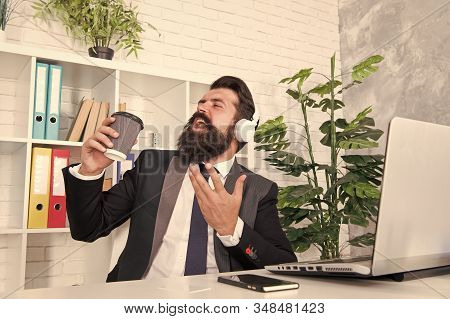 Hear My Voice. Businessman Pretend Singing Karaoke. Employer Sing Karaoke Song Using Coffee Cup. Bea