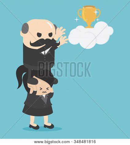 Concept Cartoon Illustration Businessmen Who Take Advantage Of Businesswomen To Make Themselves Succ