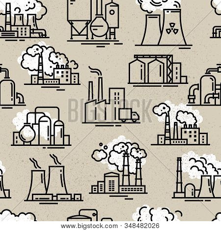 An Industrial Seamless Background For Booklets Or A Site Consisting Of Linear Icons On The Theme Of
