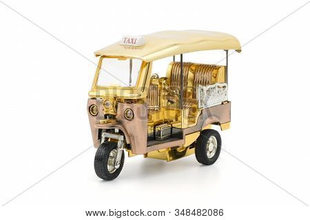 Tuk Tuk Thailand Model On White Background With Clipping Path. Tuk Tuk Is Traditional Tricycle And S