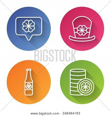 Set Line Four Leaf Clover In Speech Bubble, Leprechaun Hat And Four Leaf Clover, Beer Bottle With Fo
