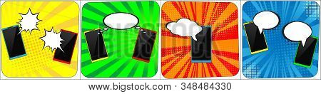 Set Of Phones With Speech Comics Bubbles. Creative Concept Vector Comic Pop Art Style Blank. Line Ar