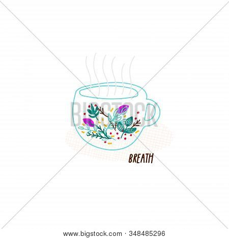 Tea Ceremony Illustration Bowl Chai Cup Hand Drawn Set Inspiration Graphic Design Element Postcard.