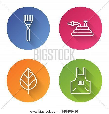 Set Line Garden Rake, Garden Hose Or Fire Hose, Leaf And Kitchen Apron. Color Circle Button. Vector