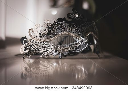 A Portrait Of A Venetian Mask Emitting Mystery And Excitement. The Mask Is Ready To Be Used For Carn