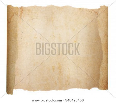 An Unrolled, Aged And Worn Scroll Paper With With Torn Edges. Blank With Room For Text Or Images. Is