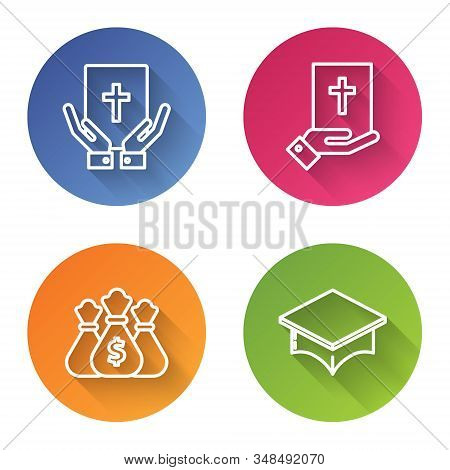 Set Line Oath On The Holy Bible, Oath On The Holy Bible, Money Bag And Graduation Cap. Color Circle