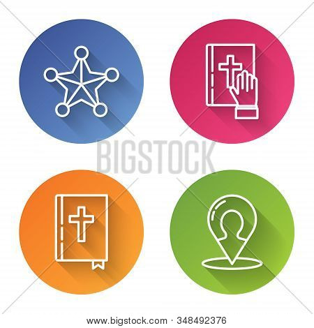 Set Line Hexagram Sheriff, Oath On The Holy Bible, Holy Bible Book And Map Marker With A Silhouette