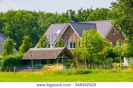 Modern Farm House With A Big Grass Pasture, Dutch Architecture At The Country Side, Bergen Op Zoom,