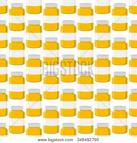 Illustration On Theme Big Colored Set Different Types Of Pills Inside Close Jar. Pill Pattern Consis
