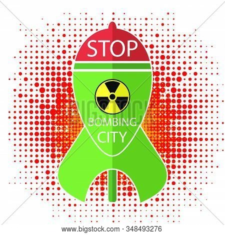 No War Sign On Halftone Background. Green Atomic Bomb With Radiation Sign On Red Background. Nuclear