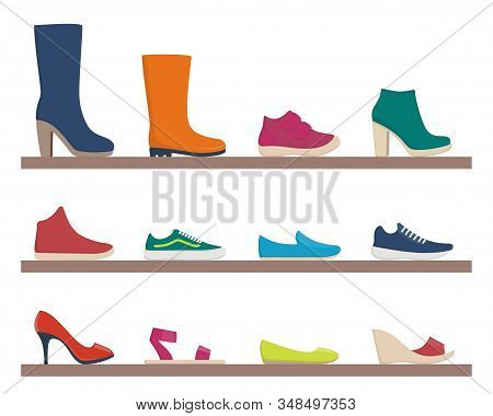 Various Footwear, Set Of Icons. Colorful Shoes And Boots For Women And Men. Vector Illustration. Col