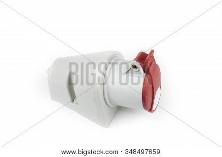 380 Volt Socket Plug On A White Background