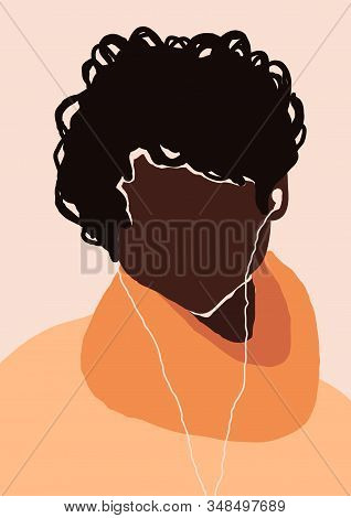 Abstract Modern Young Brutal African American Black Man Portrait Silhouette. Fashion Minimal Trendy