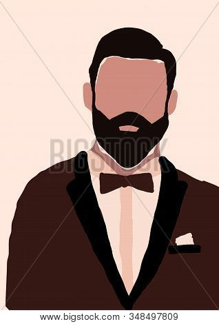 Abstract Modern Young Brutal Man With Beard In Suit Portrait Silhouette. Fashion Minimal Trendy Peop