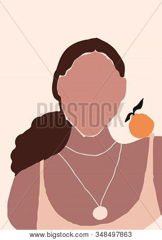 Abstract Modern Young Woman With Orange Portrait Silhouette. Fashion Minimal Trendy People Face In P