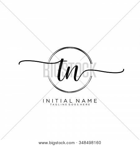 Tn Initial Handwriting Logo With Circle Template Vector.