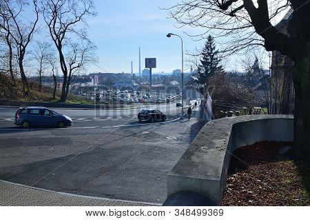 Chomutov, Czech Republic - January 21, 2020: View To Mostecka Street In Centre Of City