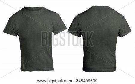 Black Heather Color T-shirt Mock Up, Front And Back View, Isolated. Male Model Wear Black Heather Sh
