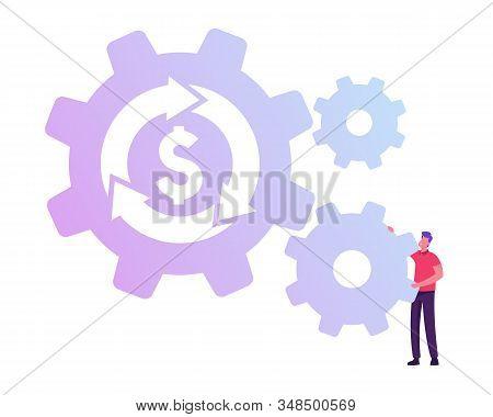 Businessman Rolling Cogwheel Mechanism With Dollar Sign And Loop Arrow. Currency Exchange, Return On