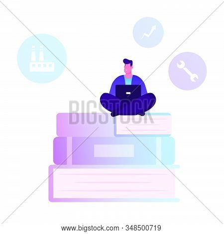 Users Manual Brochure, Faq Concept. Man Sitting On Huge Pile Of Books With Laptop Writing Manual Gui