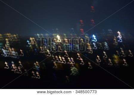 Lights Of Czech City Of Chomutov In Night On 15Th January 2020