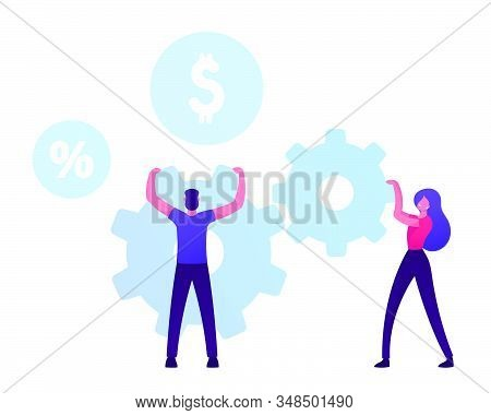 Man And Woman Moving Huge Cogwheels Mechanism With Hands, Businesswoman And Businessman Rolling Gear