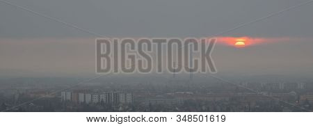 Sunrise Above Czech City Of Chomutov In Foggy Morning On 15Th January 2020