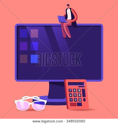 Consulting Auditor Auditing Financial Report Data Of Company Balance Statement Sitting On Huge Compu