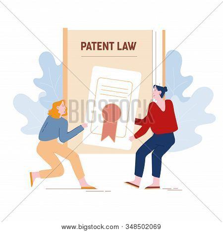 Angry Women Inventors Or Authors Pulling Patent Law Certificate Having Fight For Copyright Productio