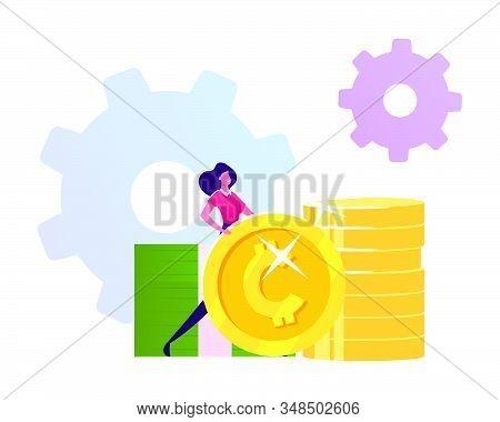 Businesswoman Stand Near Golden Coins Piles With Cogwheels Mechanism. Money Investment, Refinance. S
