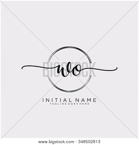 Wo Initial Handwriting Logo With Circle Template Vector.