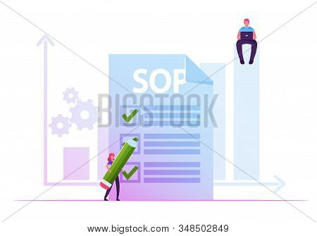 Businesswoman Filling Paper Form With Sop Inscription And Cogwheel Mechanism. Businessman Sitting Wi