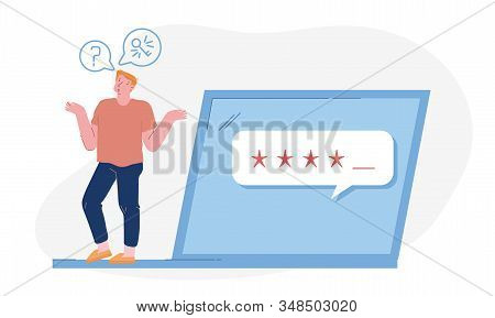 Desperate Young Man Trying To Log Into His Computer, User Forgot Password. Male Character Stand At H