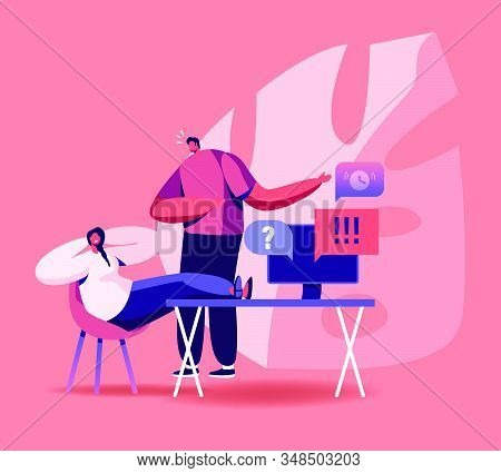 Procrastination Concept. Boss Yelling On Procrastinating Lazy Businesswoman Employee Sleeping At Wor
