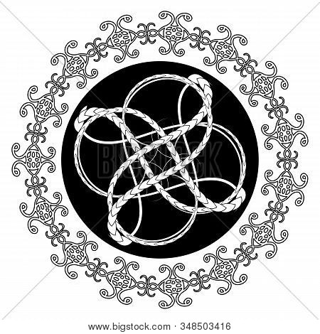Knitting Tracery On Black Circle In Celtic Or Viking Style