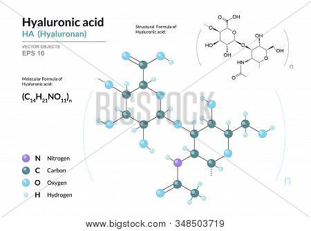 Hyaluronic Acid. Ha Hyaluronan. Structural Chemical Formula And Molecule 3d Model. Atoms With Color