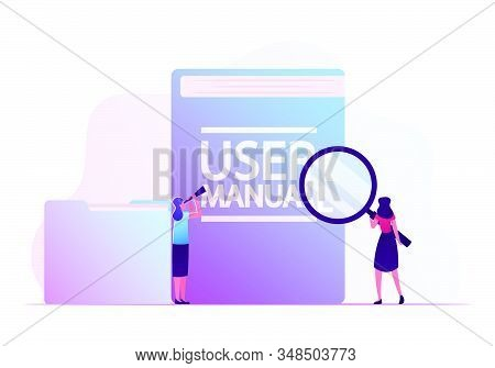 User Manual, Guide Book Or Technical Instruction Concept. Tiny Girls Looking Through Magnifying Glas