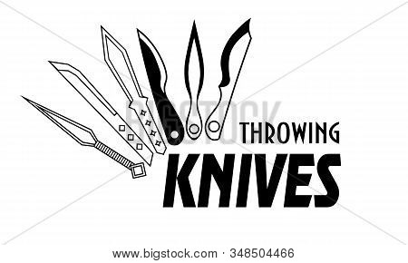 Simple Monochrome Logo With Six Different Throwing Knives