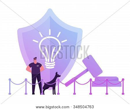 Security Man Wearing Sunglasses And Dark Clothing Stand With Doberman Dog At Huge Shield With Icon O