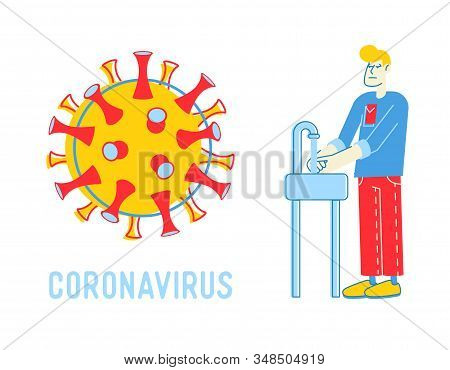 Precautionary Hygienic Measures For Coronavirus Protection Concept. Man Washing Hands In Bathroom Wi