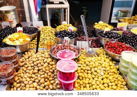 Counter With Different Types Of Olives At The Mahane Yehuda Market In Jerusalem, Israel