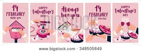 A Large Set Of Cards For Valentines Day. The Girl Writes And Sends A Letter. She Wants To Call Her L